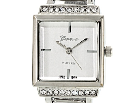 White Crystal Three Tone Mesh Band Square Dial Watch Set Of 3