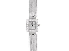 Adee Kaye Beverly Hills White Crystal Silver Tone Watch
