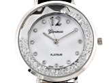 Three Tone White Crystal Mother Of Pearl Dial Floating Crystal Watch Set Of 3