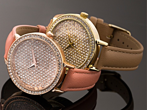 Two Tone White Crystal Watch Set Of 2