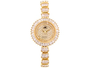 White Crystal Gold Tone Watch