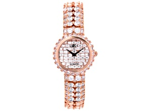 White Crystal Rose Tone Watch