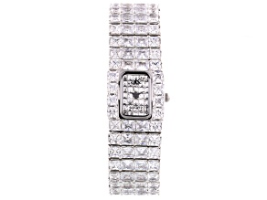 Adee Kaye Beverly Hills White Crystal Silver Tone Pave Dial Watch