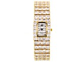 Adee Kaye Beverly Hills White Crystal Gold Tone Pave Dial Watch