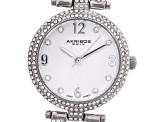 Ladies White Crystal Silver Tone Watch Set Of 2