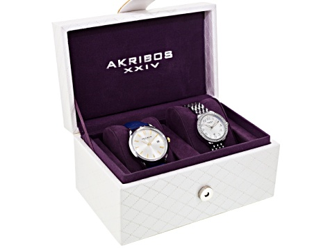 Akribos Ladies Silver Tone Watch Set Of 2