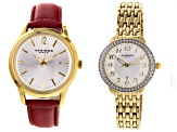 Ladies Gold Tone Watch Set Of 2