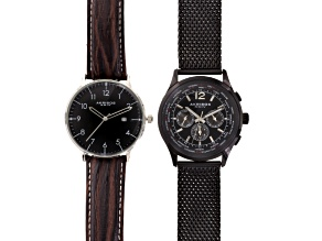 Akribos Men's Gunmetal Tone Watch Set Of 2