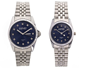 His & Hers Diamond Dial Silver Tone Watch Set Of 2