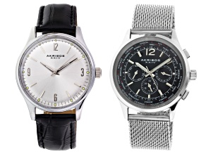 Men's Silver Tone Watch Set Of 2