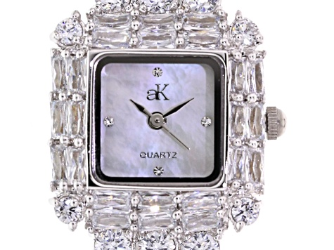 White Crystal Mop Dial Silver Tone Watch