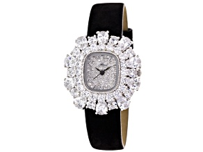 White Crystal Black Strap Watch