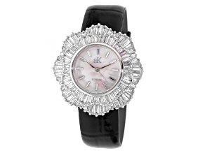 Ladies White Crystal Black Strap Watch