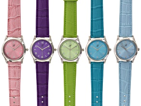 Ladies White Crystal Multicolor Band Watch Set Of 5