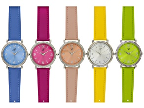 Ladies Yellow Peach Green Blue And Pink Leather Band Watch Set Of 5