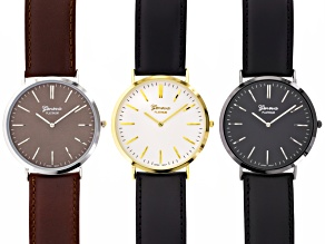 Brown And Black Leather Strap Watch Set Of 3