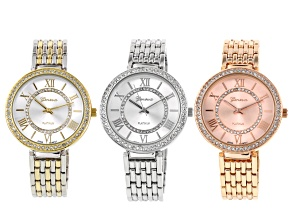 White Crystal Tose Tone Silver Tone And Two-Tone Watch Set Of 3