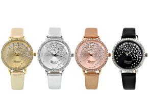 Three Tone White Crystal Watch Set Of 4