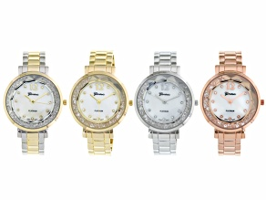 White Crystal Floating Crystal Mother Of Pearl Dial 3 Tone Cuff Watch Set Of 4.