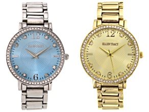 Ladies White Crystal Gold Tone Silver Tone Watch Set Of 2