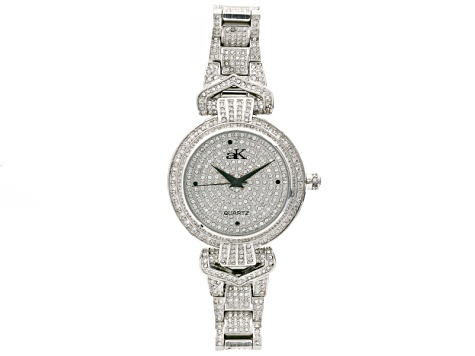 White Crystal Silver Tone Watch