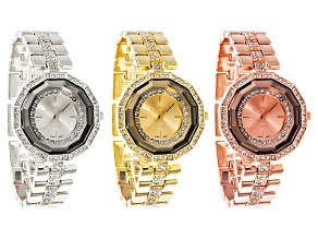 Ladies White Crystal Gold Tone Silver Tone Rose Tone Watch Set Of 3