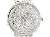 White Crystal Silver Tone Rose Tone Watch Set Of 2
