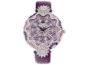 Ladies Multicolor Crystal Silver Tone Tone Purple Strap Watch