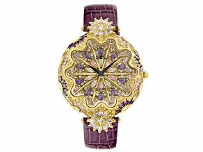 Ladies Multicolor Crystal Yellow Purple Strap Watch