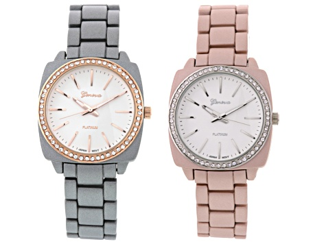Ladies White Crystal Two-Tone Pink And Gray Watch Set Of 2