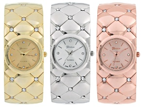 Ladies White Crystal Three Tone Cuff Watch Set Of 3