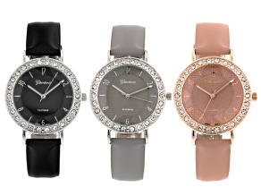 Geneva Ladies Rose Tone Silver Tone Black Gray And Pink Strap Watch Set Of 3