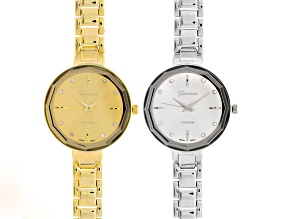 White Crystal Silver Tone Gold Tone Watch Set Of 2