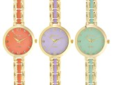 White Crystal Gold Tone Purple Green And Orange Ceramic Watch Set Of 3