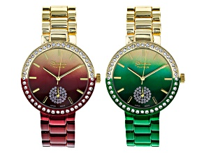 White Crystal Gold Tone Green Ombre Red Ombre Watch Set Of 2