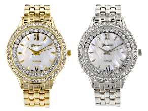Ladies White Crystal Silver Tone Gold Tone Watch Set Of 2