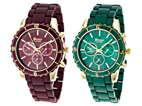 Gold Tone Burgundy And Green Matte Finish Watch Set Of 3
