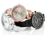 White Crystal Silver Tone Rose Tone And Black Tone Watch Set Of 3