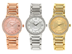 White Crystal Silver Tone Gold Tone Rose Tone Watch Set Of 3