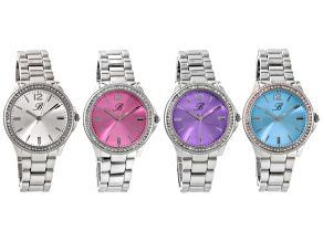 White Crystal Silver Tone Multicolor Dial Watch Set Of 4