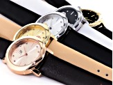 White Crystal Three Tone Multicolor Strap Watch Set Of 5