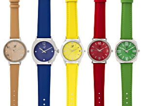 Ladies White Crystal Silver Tone Blue Yellow Red Green And Peach Watch Set Of 5