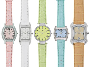 Ladies White Crystal Silver Tone Peach White Green Blue And Pink Mixed Watch Set Of 5