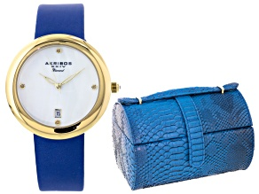 Ladies Gold Tone Diamond Dial Blue Strap Watch And Jewlery Box Set