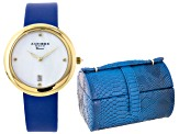 Ladies Gold Tone Blue Strap Watch And Jewelry Box Set