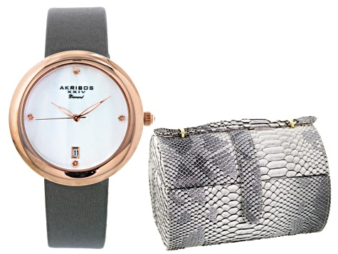 Ladies Gold Tone Gray Strap Watch And Jewelry Box  Set