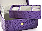 Ladies Gold Tone Purple Strap Watch And Jewelry Box Set