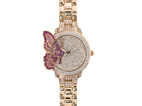 Pink Crystal White Crystal Rose Tone Butterfly Watch