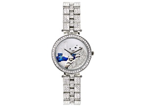 White Crystal Silver Tone Polar Bear Watch