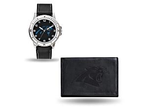 Nfl Carolina Panthers Black Leather Watch & Wallet Set